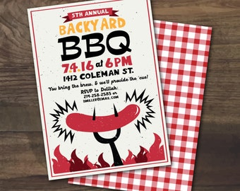 Summer Backyard BBQ Party Fourth of July Cookout or Picnic invitation