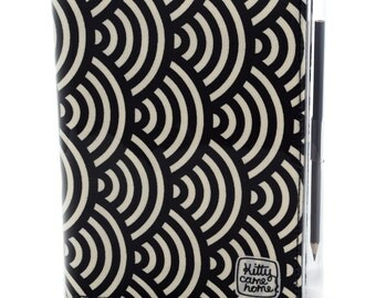 A5 Journal - black and cream large scallop design