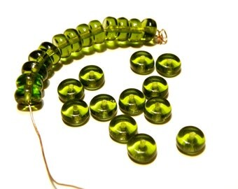 DESTASH - 50 Dark Olive Green Glass Heishi Beads - 5 mm -- LOT 3C