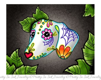 "Dahshund - Day of the Dead Wiener Dog Sugar Skull 8"" x 10"" Art Print"