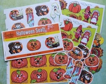 Cute Vintage Halloween & Thanksgiving Seals Eureka