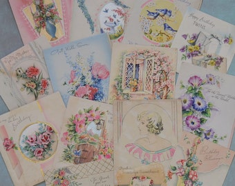 Vintage 1930's Greeting Card Lot Pretty Florals Girl Art Deco