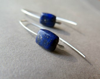 lapis earrings. blue stone jewelry. sterling silver ear wires. made in Calgary.