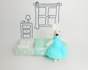Gift daughter Miniature white felt rabbit bunny in a matchbox plush white mint green pastel Easter stuffed animal doll cute kids gift