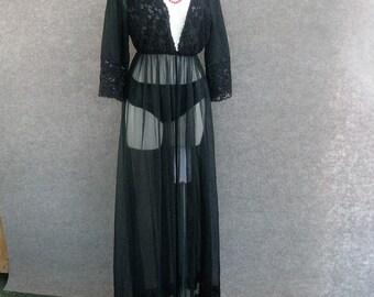 60's 70s Vintage TexSheen Black Peignoir Set, Sheer Nylon Chiffon Robe & Hiphugger Bikini Panties Mushroom Gusset, Pin Up Negligee Lingerie