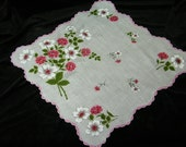 "Vintage 1950's Scalloped 14 1/2"" Pink Mixed Floral Wedding Handkerchief or Doily, 9759"