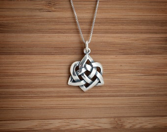 Celtic Love Trinity Heart Knot - STERLING SILVER - (Pendant, Necklace, or Earrings)