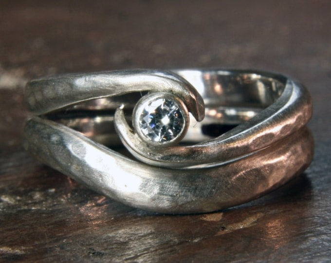 Twist wedding ring set in recycled sterling silver & ethical lab grown moissanite or diamond. Hand made to order in the UK