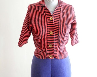 1950s red & black striped cropped picnic shirt sz. Small