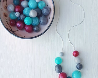crimson and clover - necklace - vintage lucite, remixed - grey teal cranberry red necklace