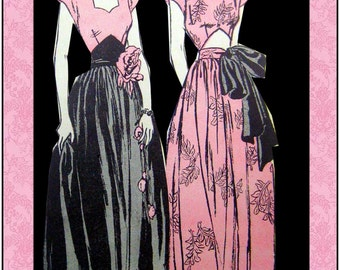 Vintage 1945-HOLLYWOOD STARLET GOWNS-Sewing Pattern-Two Styles-Sexy Cut-Out Midriff-Sweetheart Neckline-Long Swish Skirt-Size 16-Mega Rare