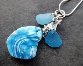 Turquoise Sea Glass Necklace Jewelry Aqua Blue Pendant RARE English Seaglass