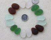BEACHGLASS EARRING PAIRS Genuine Seaglass Nuggets Of Seafoam, Brown, White & Green   zy103(2)
