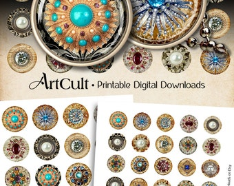 1 inch (25mm) and 1.5 inch size round JEWELRY Images Digital Collage Sheet Printable circles for glass or resin pendants Art Cult Downloads