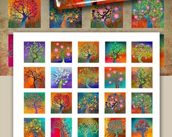"""1""""x1"""" (25x25mm) and 7/8x7/8 inch size images MAGICAL TREES Digital Collage Sheets Printable download for pendants magnets craft by ArtCult"""
