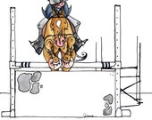 "Finding her line.  Hunter Print Horse Equestrian Art 8"" x 8"" Print"