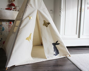 Play Teepee Tent - MIDI size decorated indoor play teepee tent