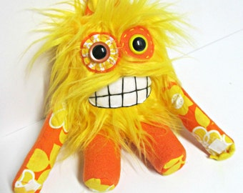 Monster Plush - Handemade Plush Monster - Yellow Faux Fur - Toothy Smile Toy - Mini Monster Toy - OOAK Stuffed Monster - Handmade Softie Toy