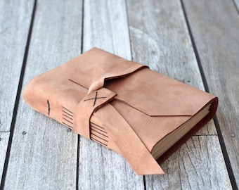 Tan Leather Journal, Rustic Travel Diary
