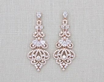 Rose Gold Earrings, Bridal earrings, Bridal jewelry, Crystal earrings, Wedding jewelry, Swarovski earrings, Rose Gold jewelry, Long earrings