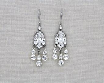 Crystal Bridal earrings, Wedding earrings, Bridal jewelry, Swarovski crystal earrings, Chandelier earrings, Vintage style earrings, Dangle