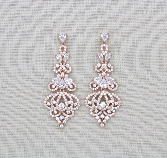 rose gold earrings bridal earrings bridal jewelry crystal. Black Bedroom Furniture Sets. Home Design Ideas