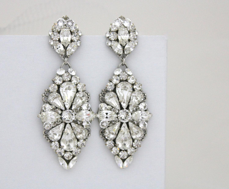 Crystal Bridal Earrings Statement Wedding Earrings Bridal