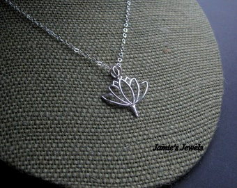 Sterling Silver Lotus Necklace - Sterling Silver Lotus Flower Necklace - Sterling Silver Modern Necklace -Everyday Sterling Silver Necklace