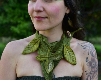 Felt Necklace-Pixie Jewelry-Nymph Neck Piece-Leaf Choker-Woodland Costume-Fairy Necklace-Felt Leaf Adornment-Wearable Art-Festival Wear-OOAK