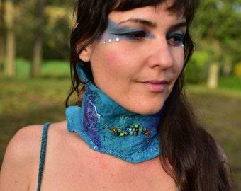 Felt Necklace-Choker-Mermaid Costume-Water Sprite-Festival Wear-Neck Warmer-Beaded Necklace-Turquoise Choker OOAK