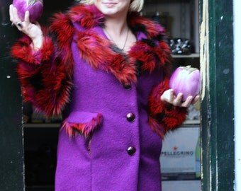 Exclusive Extravagant Edgy Eccentric Vibrant Colorful Purple Faux Fur Womens Coat, One Off, Durga Designer High Fashion Clothing, Daring, L