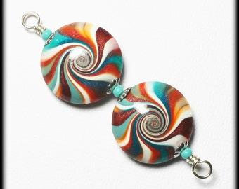 Fiesta... Handmade Polymer Clay Beads Bead Set Earring Pair Turquoise Terra Cotta Orange Aqua Silver Lentil Lentils Swirl Spiral Bead Caps