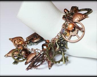 Steamy... Handmade Jewelry Bracelet Beaded Steampunk Cha Cha Charm Chain Keys Gears Locks Hearts Crystal Pearl Mixed Metal Copper Brown