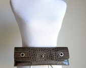 SALE - LEATHER Clutch Bag Purse Shoulder Strap Cross Body - Raw and Rustic - Decorative Textured Leather
