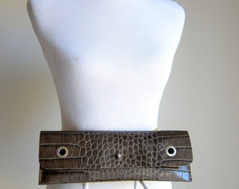 LEATHER Clutch Bag Purse Shoulder Strap Cross Body - Raw and Rustic - Decorative Textured Leather