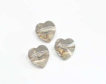 Swarovski silver shade heart beads 10mm qty 3 5742