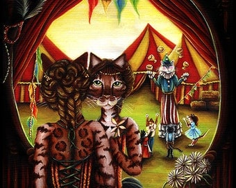Circus Cat Art Original Acrylic Painting on Canvas 16x20