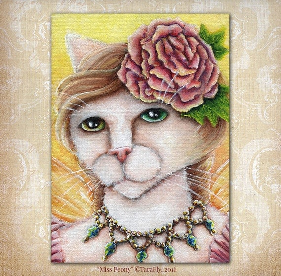 Peony Fairy Cat Flower Fantasy Art 5x7 Print