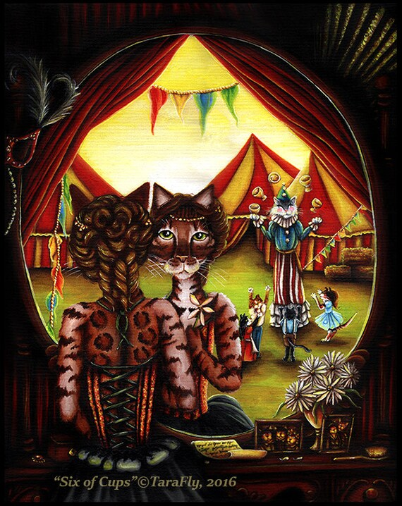 Circus Cat Art Original Acrylic Painting on Canvas 16x20