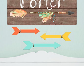 Arrow Personalized Stretched Canvas and Set of 3 Coordinating Wooden Arrows CS0059