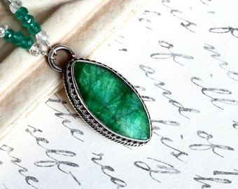 Emerald Necklace, Sterling Silver - Emerald City by CircesHouse on Etsy