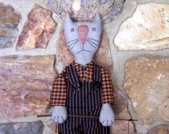 PriMiTiVe FoLkArT Grey Male Alley Cat & Fishing Pole with Fish on Hook for Fathers, Dads,Brothers, Boys HAFAIR OFG FAAP