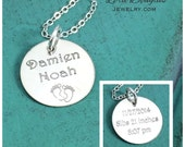 Birth Announcement Jewelry, Baby, New Baby, Baby Gift, Birth Announcement, Sterling Silver Charms, Engraved Jewelry, Sterling Disc, 3/4 inch