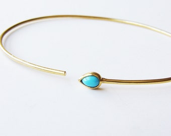 SALE Turquoise Open Gold Bangle OOAK