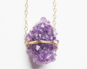 SALE Amethyst Crystal Gold Necklace