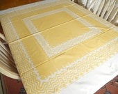 """vintage Simtex tablecloth, table linens, kitchen and dining,  52"""" x 49"""", white yellow, vintage linens, mid century home decor"""