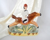 vintage Staffordshire horse and rider figurine, made in England 1980s reproduction, equestrian decor, home decor