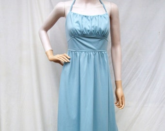 70s Halter Maxi Dress size Small Mikey Jrs.  Slate Blue Maxi Bare Back Dress