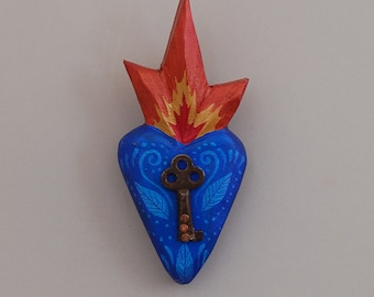 Heart- Carved wood-Blue with antique key