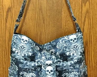 Black Charcoal Skulls Damask  - Bag, Purse, Shoulder Bag, Hobo, Outside Pockets